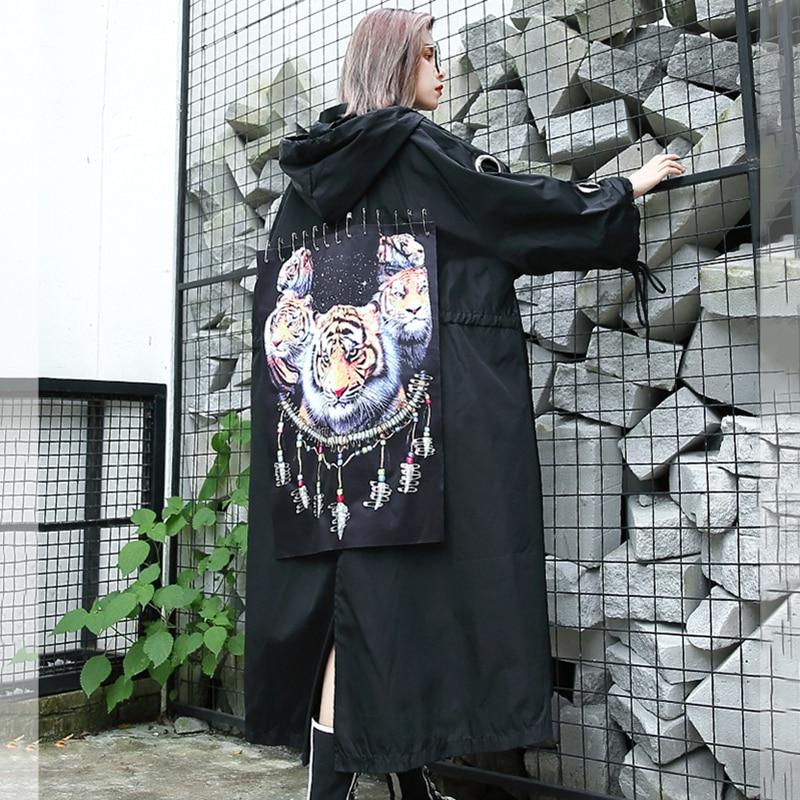 Nouveauté Trench Capuche Manteau Mode Pour Streetwear Femmes Imprimer Long Surdimensionné coat Black À 2019 Anime Cartoon Patch Printemps BaIazgq