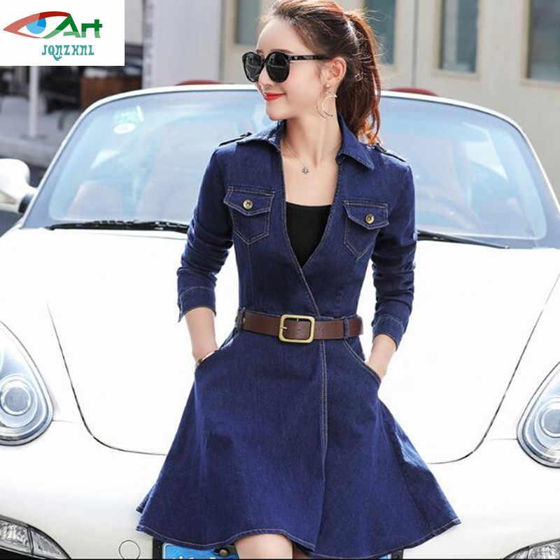 Весна 2018 мода Эластичность джинсовое платье Для женщин одежда с длинным рукавом Высокая талия отложной воротник Тонкий дамы карман джинсы платья AS283