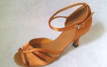 New Women Tan Satin Salsa Ballroom Tango Dance Shoes Latin Dance Dancing Shoes ALL Size