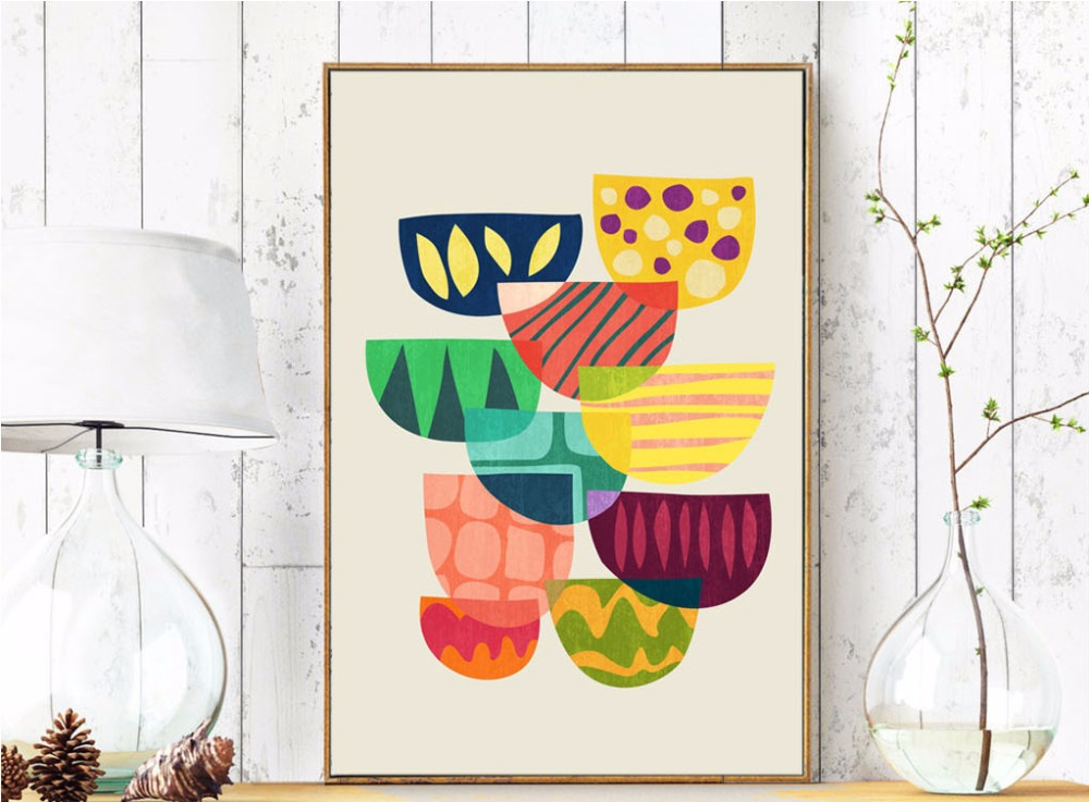 Nordic Simple Abstract Geometric Color Block Painting No Frame