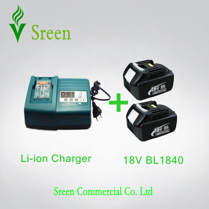2 x 4000mAh New Rechargeable Li-ion Battery with Universal Power Tool Battery Charger Replacement for Makita 18V BL1830 BL1840 power tool rechargeable battery charger for makita dc18rc li ion battery rapid 9a charger bl1415 bl1430 bl1815 bl1830