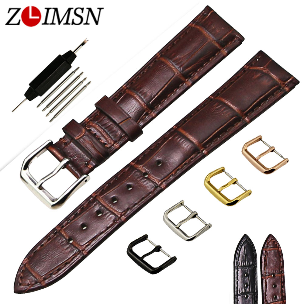 ZLIMSN Genuine Leather Watch Band 18 20mm Black Brown Strap Silver Metal Buckle Wristband Watches Accessories Relojes Hombre zlimsn alligator leather watch bands strap watches accessories 20 22mm black brown genuine leather watchbands butterfly buckle