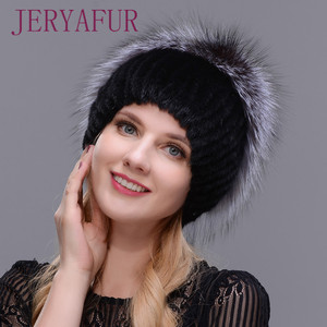 Image 4 - 女性新冬の毛皮キャップフード付きヘッド本物のミンクの毛皮の帽子と銀キツネの毛皮花柄帽子高品質毛皮ファッション帽子