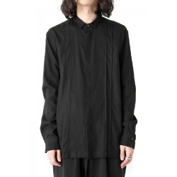 Original design male shirt yoo yamamoto style yo dark black system long-sleeve pleated stitching S-6XL! Big yards men's clothing