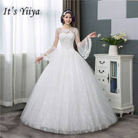 It's YiiYa New Long Flare Sleeve Wedding Dresses Simple O neck Back Lace Up Wedding Gown HS283