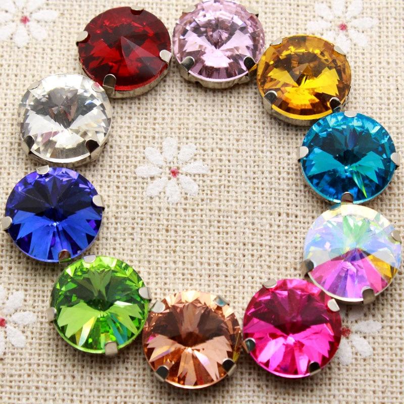 50 шт. 12 мм красочные кристалл круглый шить на горный хрусталь с установкой коготь серебро Назад Необычные Камень с металлической Claw с отверстиями