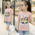2016 summer girls clothing big girls O neck short sleeve cotton t-shirt cartoon print basic shirt Kids fashion top tees 4-14Y