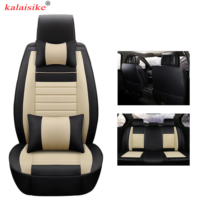 kalaisike universal leather car seat covers for <font><b>Mercedes</b></font> Benz all models E C CLS S <font><b>A</b></font> G GLS GLE GL B CLK SLK ML GLA CLA GLK class image