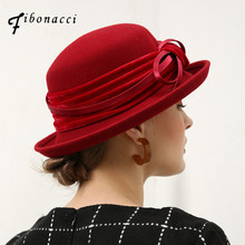 Fibonacci Fedoras Wool Felt Hat Female Flanging Velvet 8 Words Bow Dome Fedora Hats for Women