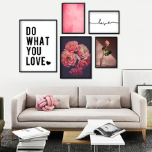 Pink Flower Cup Balloon Rose Wall Art Canvas Painting Nordic Posters And Prints Love Quotes Pictures For Living Room Decor