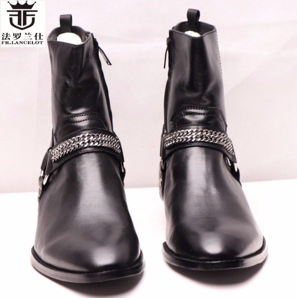 FR. LANCELOT/зимняя мужская обувь из замши, мужские Ботильоны из натуральной кожи, роскошные брендовые черные мужские ботинки на высоком каблуке