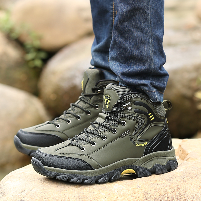 Winter Outdoor Hiking Shoes For Men Waterproof Trekking Hunting Tourism Mountain Sneakers Comfortable Climbing Outventure Shoes zapatillas de moda 2019 hombre