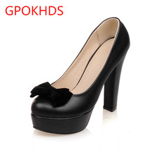 Big size 33-43 high quality hot sale 2016 new style women casual black color autumn spring bow platform high heels pumps shoes
