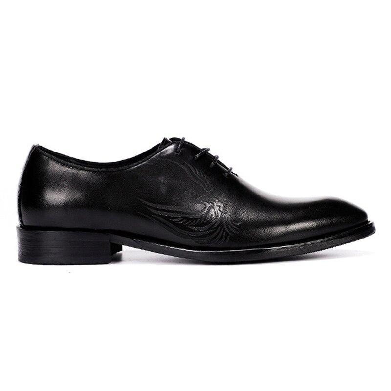 Vestido Vintage Hombre Cuero Brogue Formal Redonda Zapatos Lujo Pie Quarter Boda Genuino Oxfords Dedo De Marca Negro azul Hombres Del Partido Ss326 Calzado wzzSxq