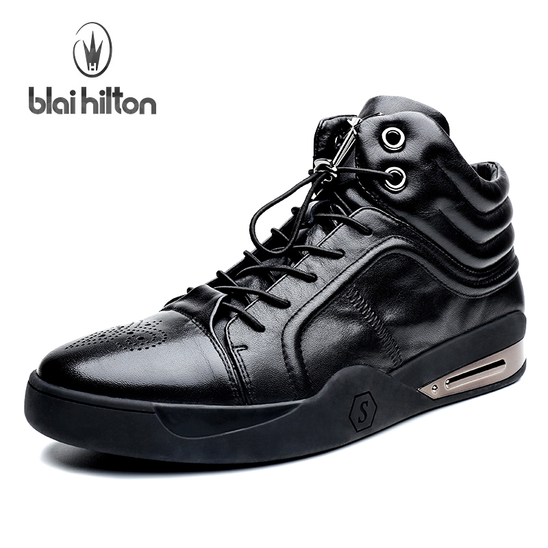 Blai Hilton 2017 Luxury Designer 100% Genuine Leather Men Shoes High Top Quality Fashion Mens Shoes Casual Black Shoes