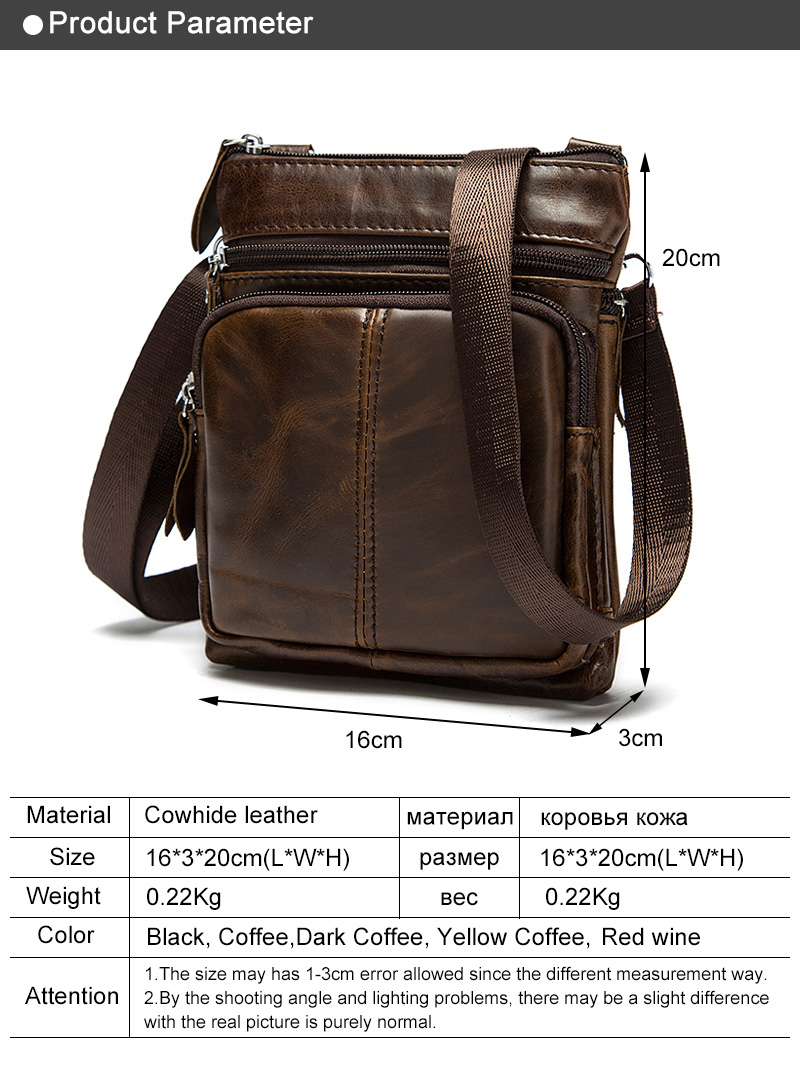 Messenger Bag MenS Shoulder Leather Bags Flap Crossbody Bags For Men Bag,701R4 Light Coffee,16Cm