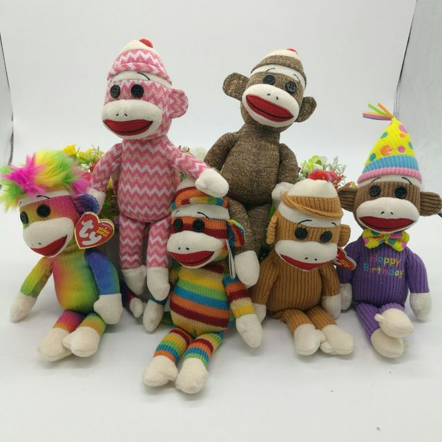 23cm Ty Monkey Sock Monkey Plush Toy With Big Mouth Original Stuffed