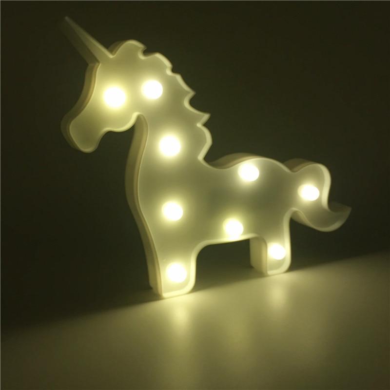 Piękny lampka nocna w kształcie jednorożca 3D Animal Night Nowość Namiot dziecięcy DZIEŃ Sypialnia Sypialnia Dekoracja świąteczna Zasilany baterią AA