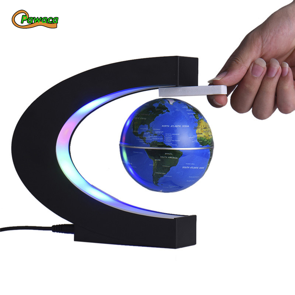 US/EU/UK Electronic Floating Tellurion C Shape Magnetic Levitation Floating Globe World Map With LED Light Home Decoration Gifts
