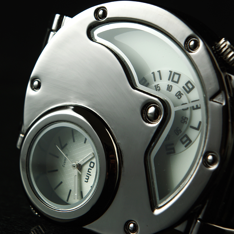 Aviator Pilot Wrist Watch w/ Dual time, black leather 2