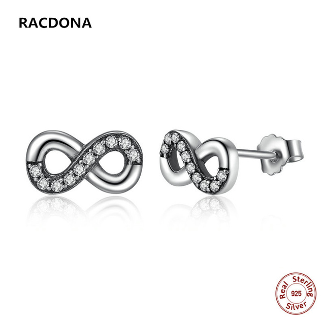 Authentic 100% 925 Sterling Silver Stud Earrings Infinite Love Clear Crystal Earings For Women r0XvFdfwzh