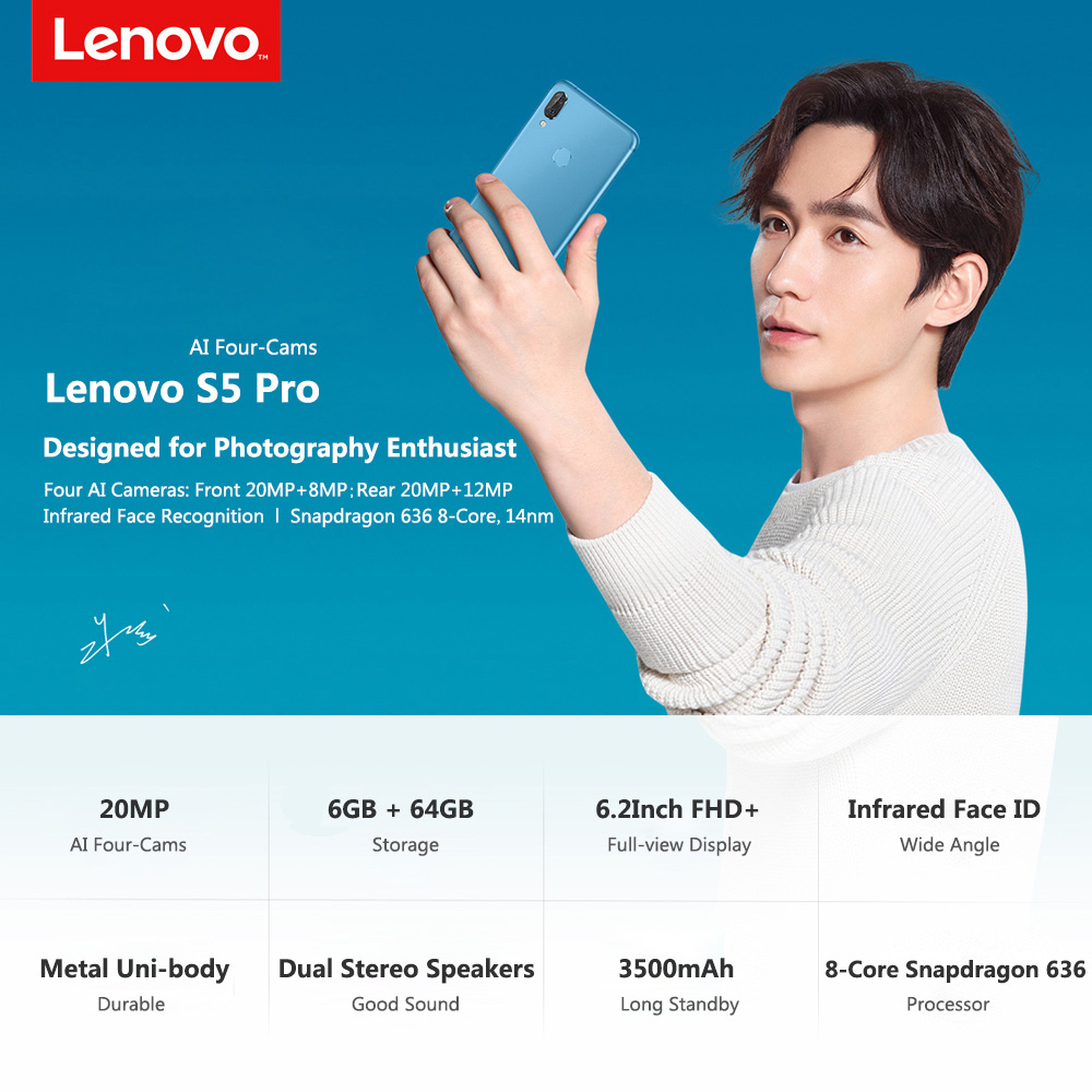 Lenovo S5 Pro Smartphone 20MP quad cameras 6.2inch Octa core 4G LTE Phones (1)