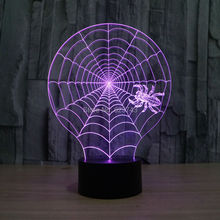 8pcs/lot 7 Color changing 3D Flashing Spider web Acrylic LED cobweb Night Light with USB power multicolor table Lamp of LEDS