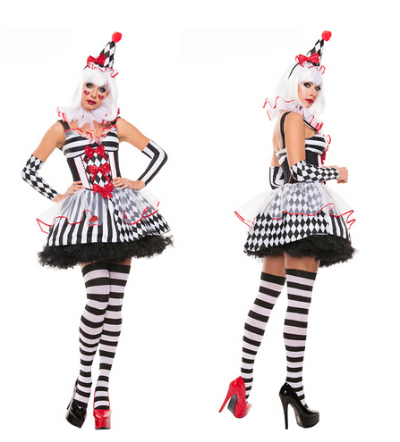 Funny Harley Quinn traje mujer adulto mujer payaso circo Cosplay ...