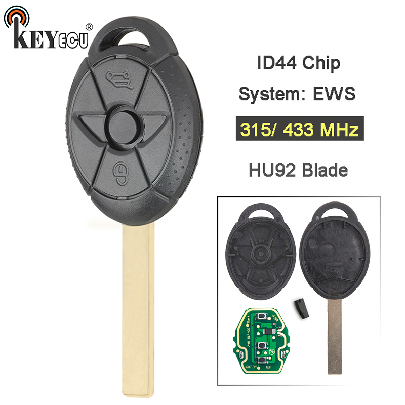 Replacement Remote Key Fob 315Mhz ID44 for BMW Mini Cooper S R50 R53 2005-2007