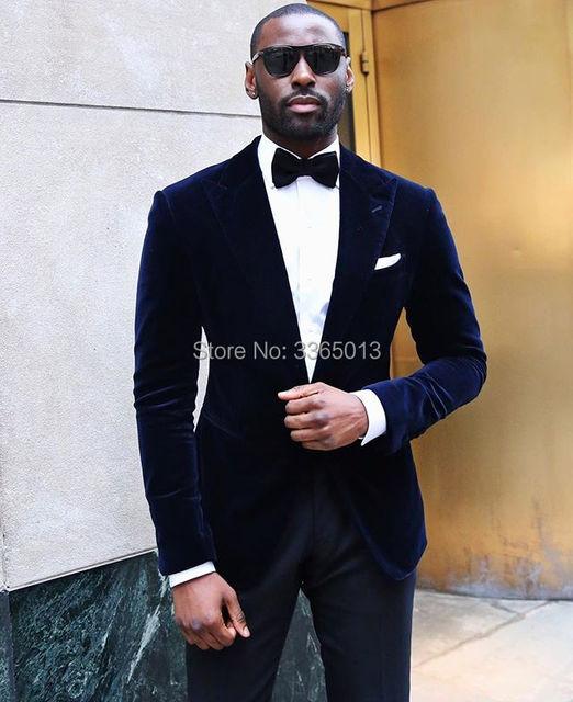 Navy Blue Velvet Blazer Black Pant 2018 New Designs Fashion Tuxedos