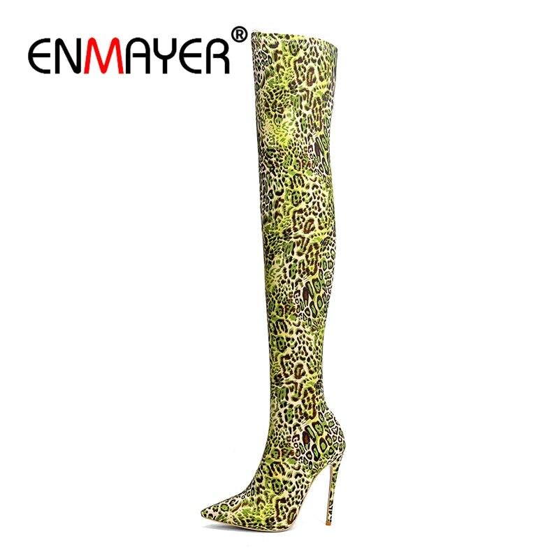 ENMAYER/женские Сапоги выше колена, зимняя женская модная обувь, высокие сапоги на очень высоком каблуке с леопардовым принтом, на тонком каблу