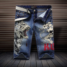 Tiger pattern fashion personality printing boutique knee length jeans Chinese style Summer straight cotton quality jeans men