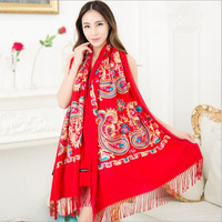 Winter Brand women scarf embroidered Ethnic Hot Autumn cashmere scarf increase warm shawl fulares muj bandana free delivery A583