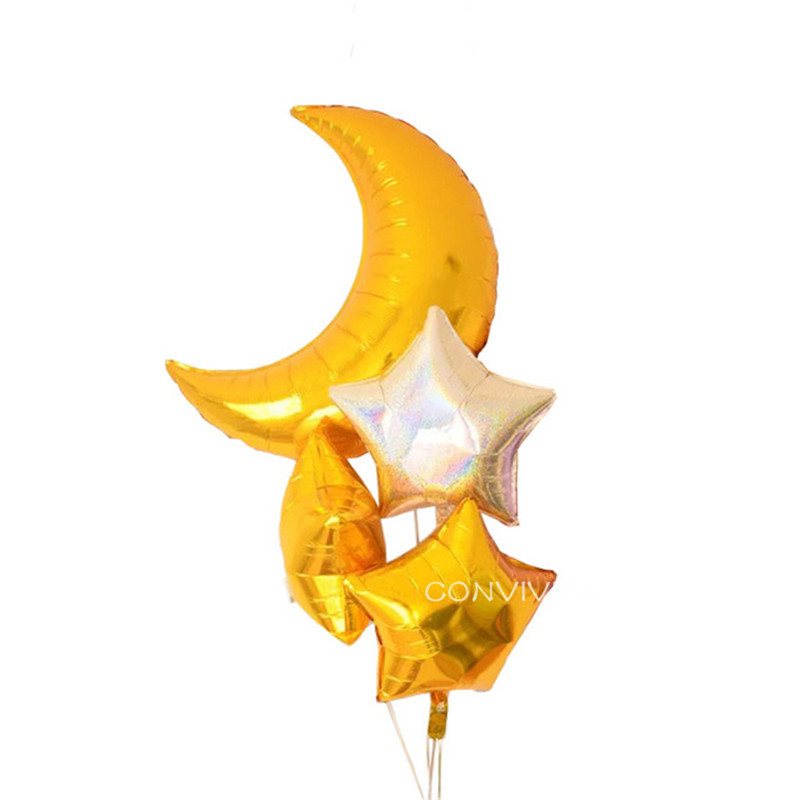 Festive & Party Supplies 1set 36inch Moon 18inch Star Laser Air Balloons Birthday Party Helium Balloon Decorations Wedding Festival Balon Party Supplies Home & Garden