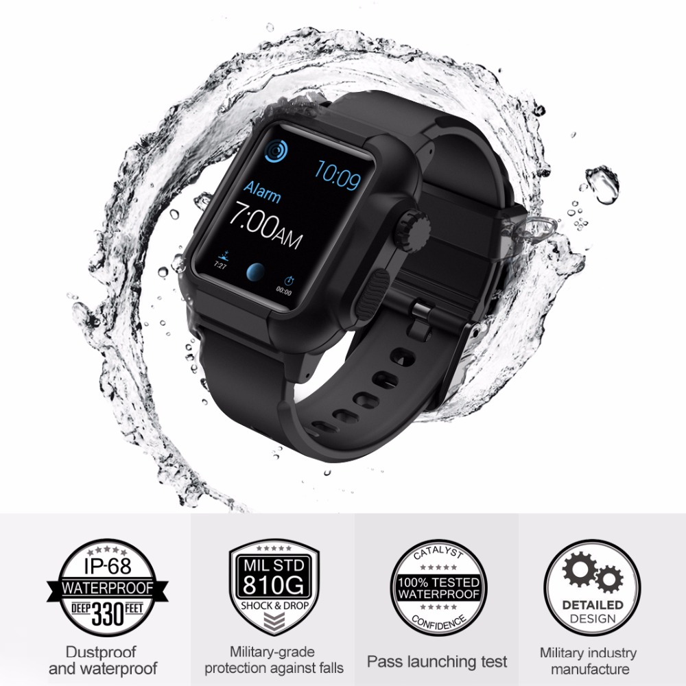 New Waterproof Shock Proof Impact Resistant Case For Apple Watch Series 5 4 3 2 Silicone Band Iwatch Band 42mm 44mm Accessories
