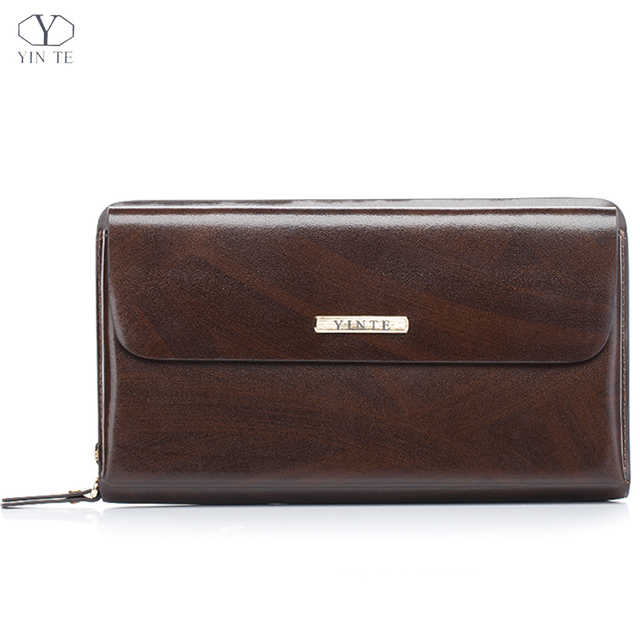 de5ee6475d32 YINTE Fashion Men s Clutch Wallets Leather Wallet Men Clutch Bag England  Style Passport Purse Dark Brown
