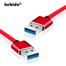 kebidu 3 colors Super Speed Male to Male USB to USB 2.0 Cable USB Cable Extension Data Sync Cable for Computer PC 1m