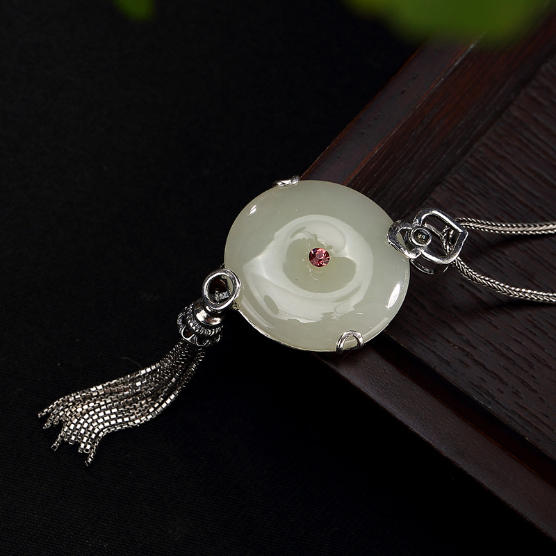 One LuYin S925 pure silver hetian jade white jade inlay peace clasp tassel ms high-grade sweater chain pendant wholesale