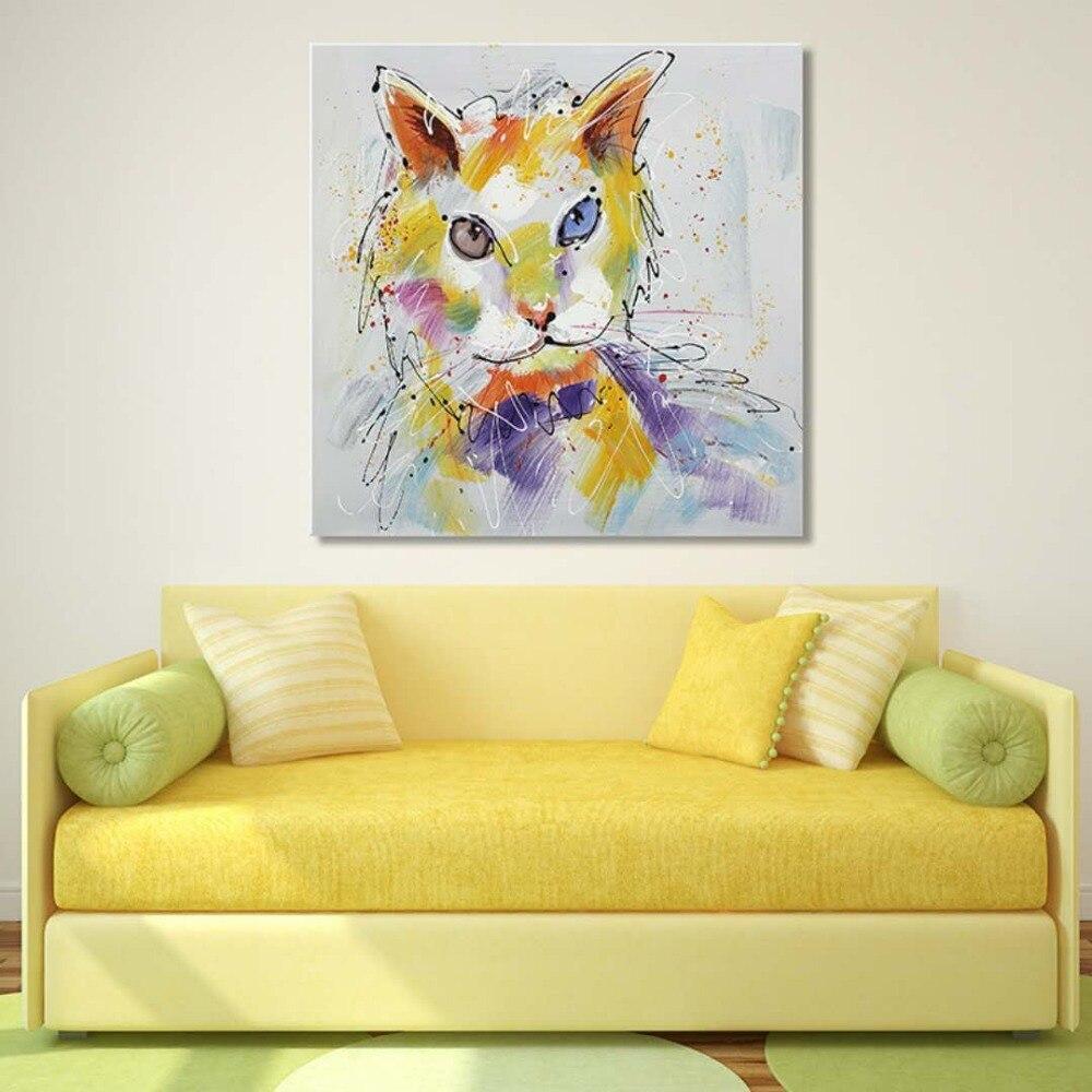 Американский творческие Кошки Ручная роспись маслом гостиная диван фоне стены высокого класса декоративной живописи Мода Крытый быть