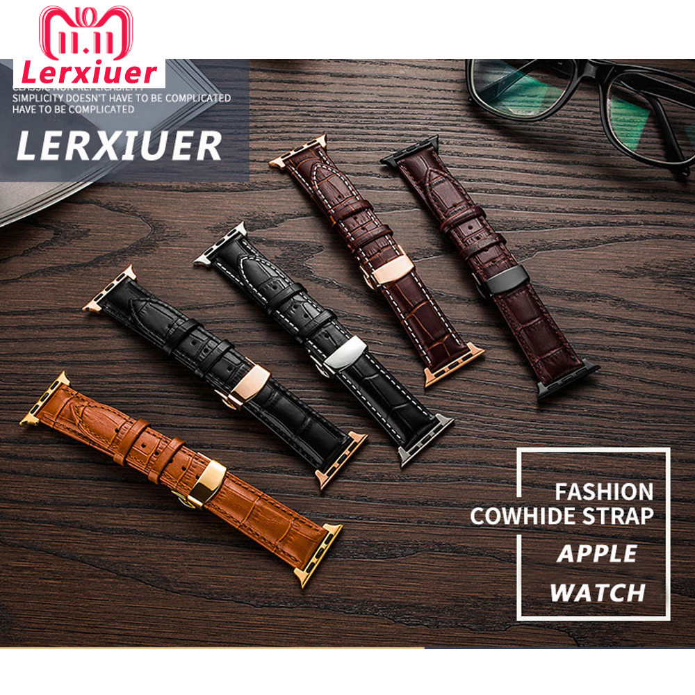 Leather Strap For Apple Watch 5 4 Band Correa Applewatch 44mm 40mm 42mm 38mm Iwatch 5 4 3 2 1 Butterfly Buckle Bracelet