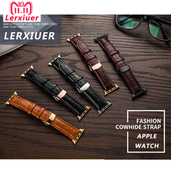 Lerxiuer Leather strap For Apple watch band 4 44mm 40mm Butterfly buckle bands Iwatch series 3 2 1 42mm 38mm bracelet wrist belt