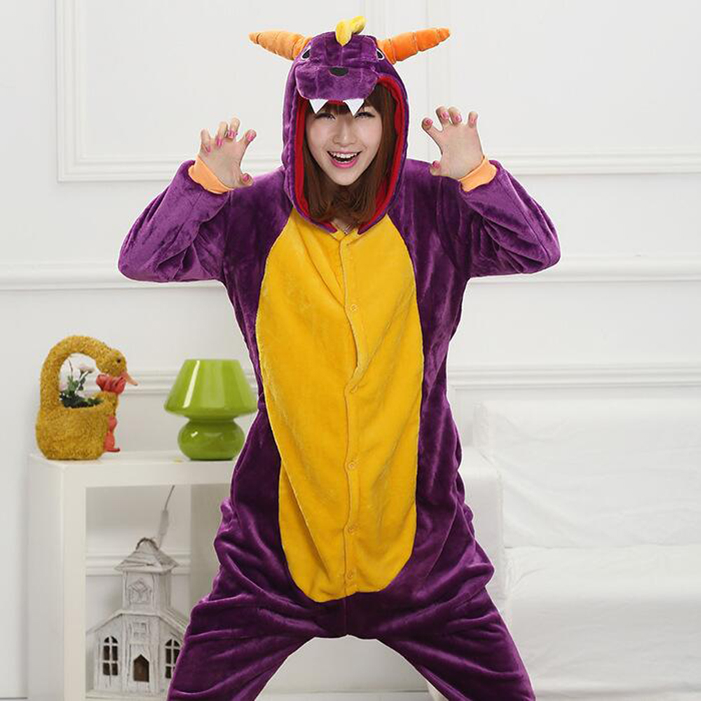 Onesie Purple Dragon kigurumi Pajama Adult Animal Casual Party Jumpsuit Winter Warm Suit Games Play Outfit Fashion Flanel Women