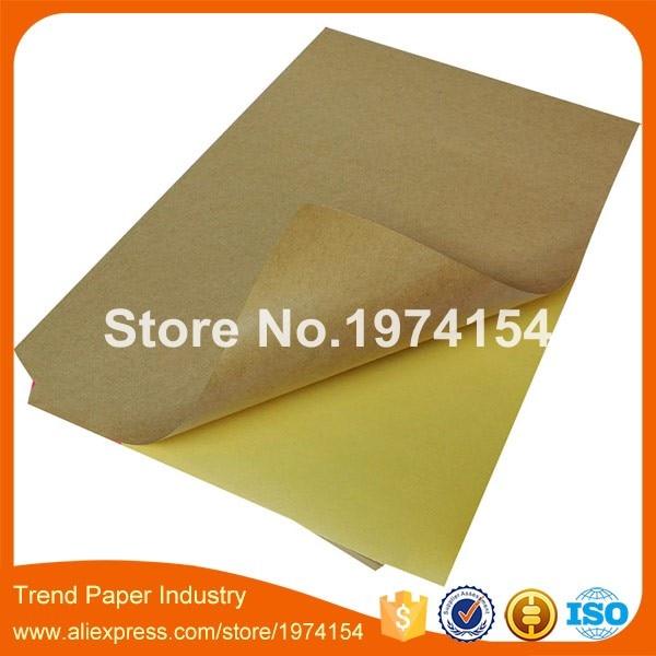500 sheets brown Self adhesive A4 blank kraft label sticker paper for laser or inkjet printer