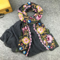 Этническом Стиле Вышитые Шарфы и Шали для Женщин Дизайна Моды мусульманский Хиджаб Шарф и Пашмины для Дам Размер 90 х 180