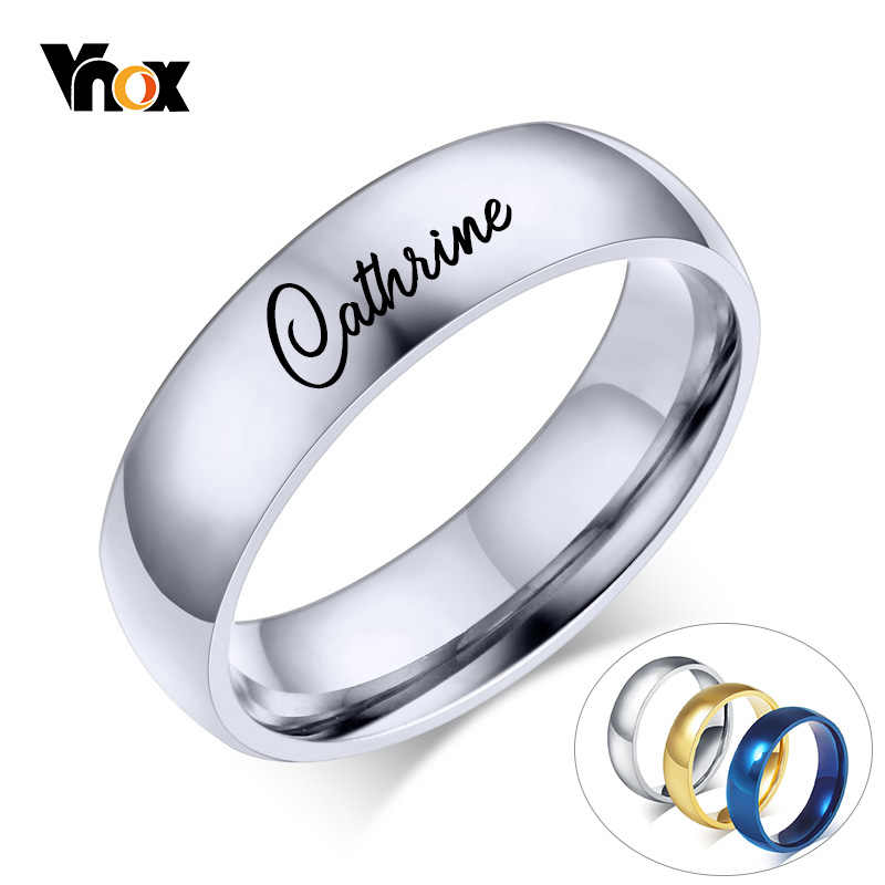 Vnox Free Engraving Personalized Name Ring for Women Men 6mm Stainless Steel Wedding Band Classic Alliance