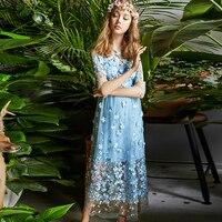 Mesh Ladies Dresses European New Half Sleeve Fashion 2017 Summer Hot Sale Appliques Fairy Mid Calf Top Grade Designer Dress