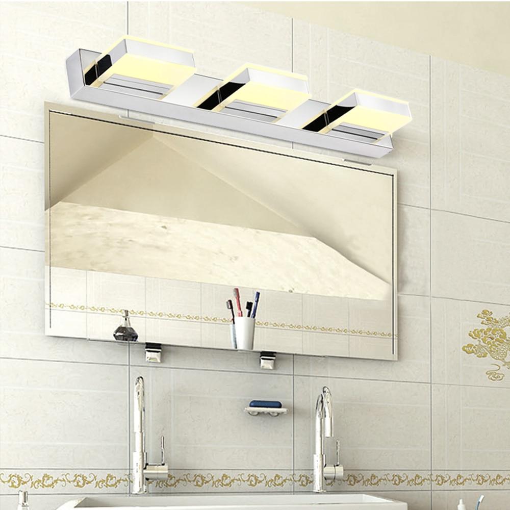 Crystal ledmirror light bubble crystal stainless steel bathroom mirror - Modern Led Mirror Front Light 12w 8w Ac220v Waterproof Anti Fog Acrylic Bathroom Washroom Make