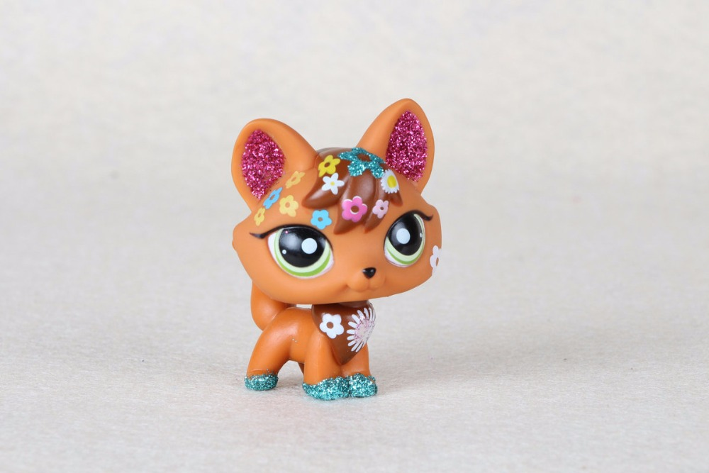 New pet Genuine Original LPS #2341 Green Eye Sparkle Glitter Fox Cat Toys fox гель лак cat eye 022