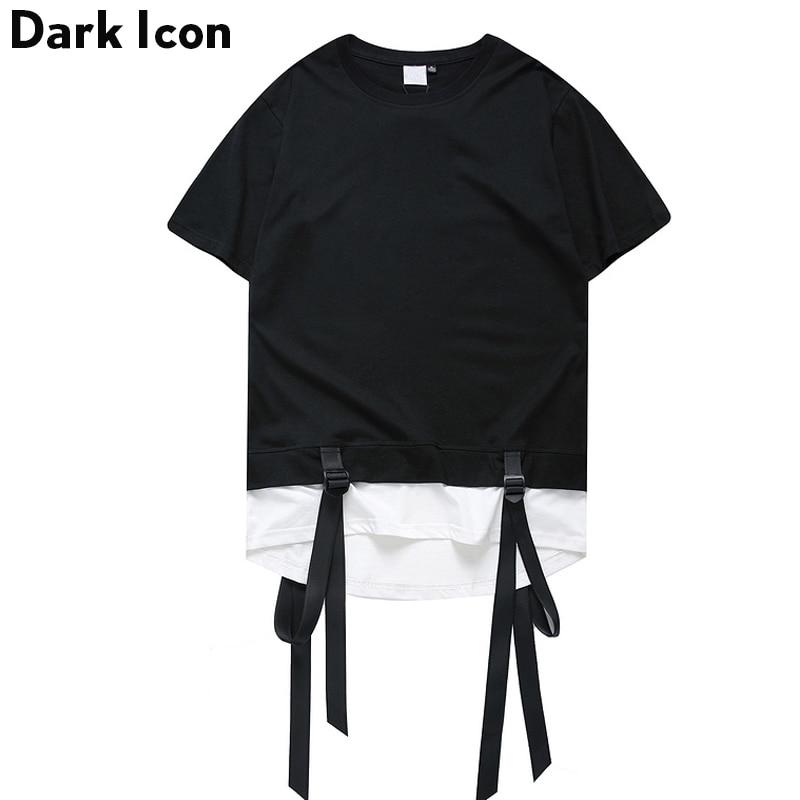Color Block Ribbon Curved Hem Hiphop T-shirt Short Sleeve 2017 Summer New Fashion Men's Tshirt Casual Tee Shirts 2 Colors 2