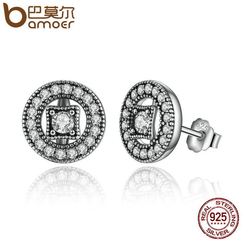 BAMOER Authentic Real 925 Sterling Silver Vintage Allure, Clear CZ Stud Earrings Women Wedding Jewelry Femme Brincos PAS485 bamoer zirconia brincos 925 sterling silver in my heart pave stud earrings clear cz for women fine jewelry wedding pas444